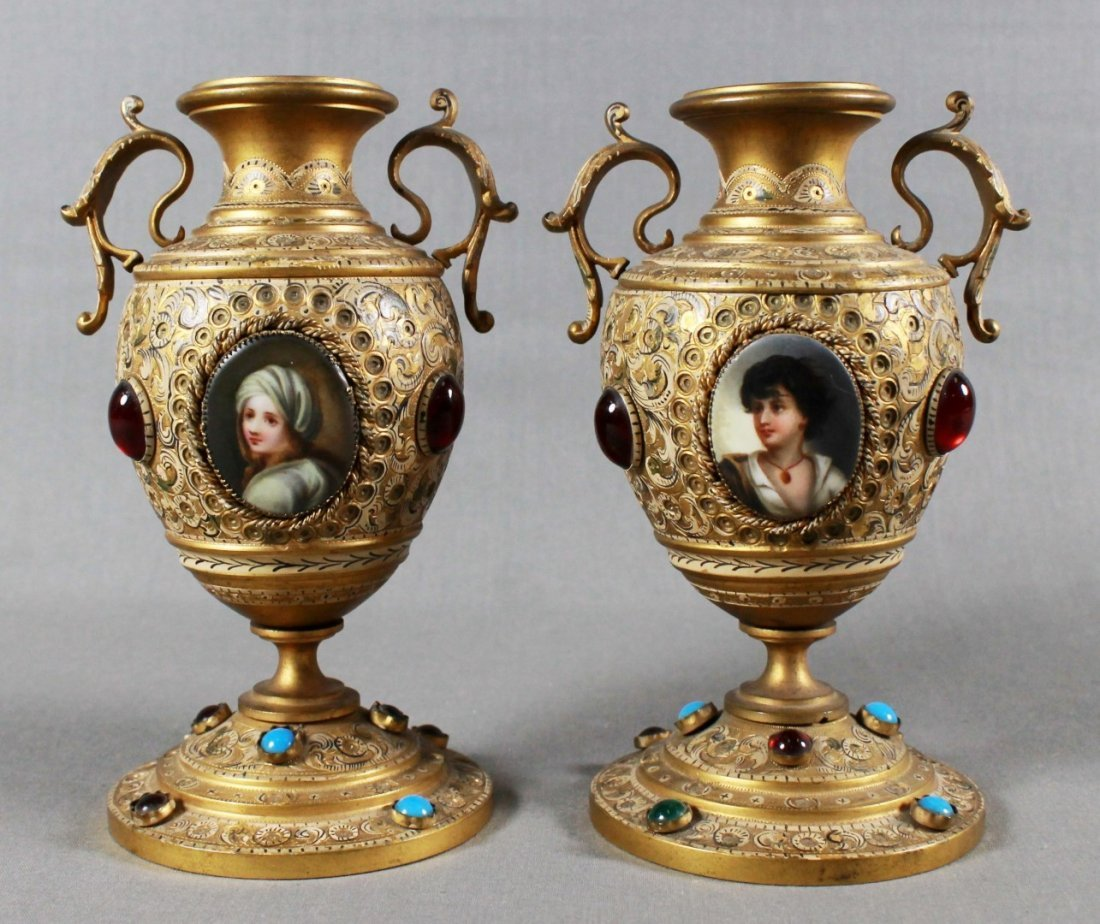 PAIR OF VICTORIAN BRONZE JEWELED VASES