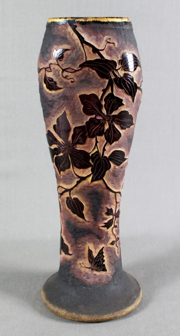 A DAUM NANCY FRENCH CAMEO GLASS FLATTENED VASE, WITH