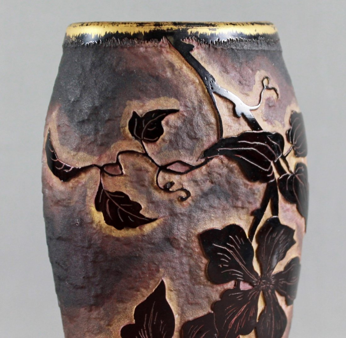 A DAUM NANCY FRENCH CAMEO GLASS FLATTENED VASE, WITH - 3