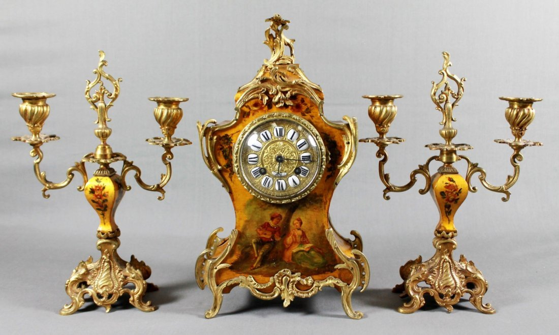 LOUIS XVI STYLE MANTLE CLOCK AND GARNITURE