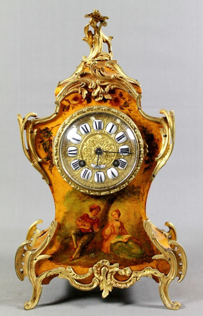 LOUIS XVI STYLE MANTLE CLOCK AND GARNITURE - 2