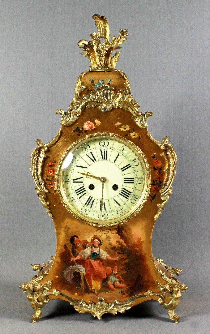 19th C French Mantel Clock with hand Painted Scene