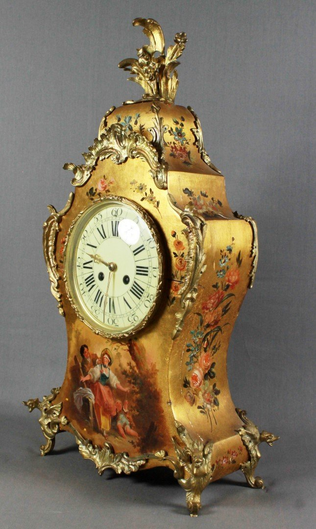 19th C French Mantel Clock with hand Painted Scene - 5
