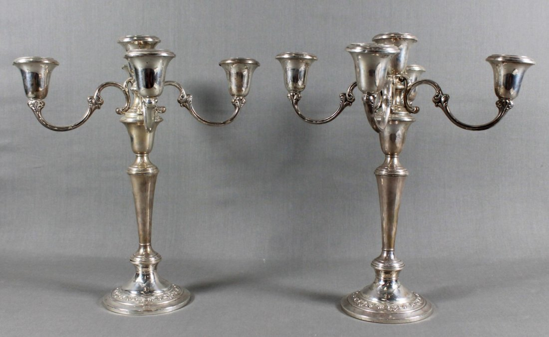 PAIR OF WEIGHTED GORHAM STERLING CANDELABRAS