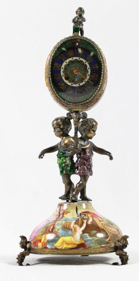MAGNIFICENT AUSTRIAN SILVER GILT AND ENAMEL CLOCK WITH