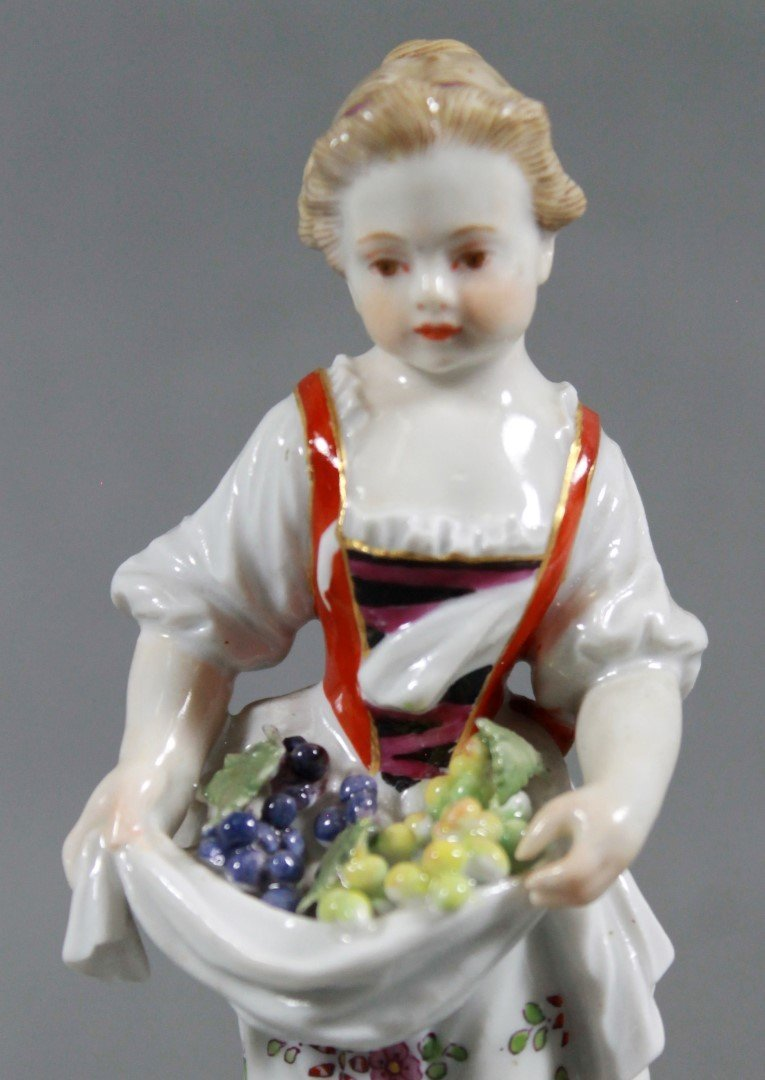 MEISSEN FIGURE OF GIRL WITH FRUIT - 2