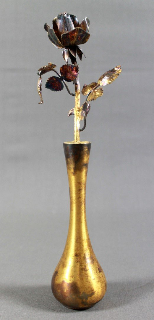 TIFFANY AND CO. STERLING SILVER ROSE IN VASE