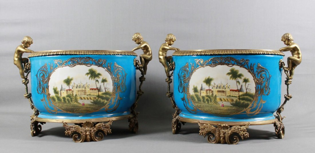 Pair Bronze Mounted Sevres Style Planters