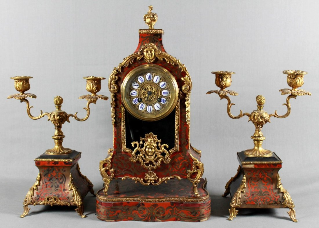 19TH C. LOUIS XV STYLE BOULLE MARQUETRY CLOCK GARNITURE