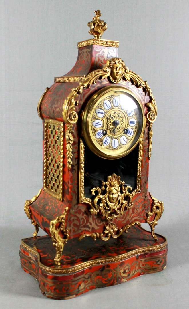 19TH C. LOUIS XV STYLE BOULLE MARQUETRY CLOCK GARNITURE - 2