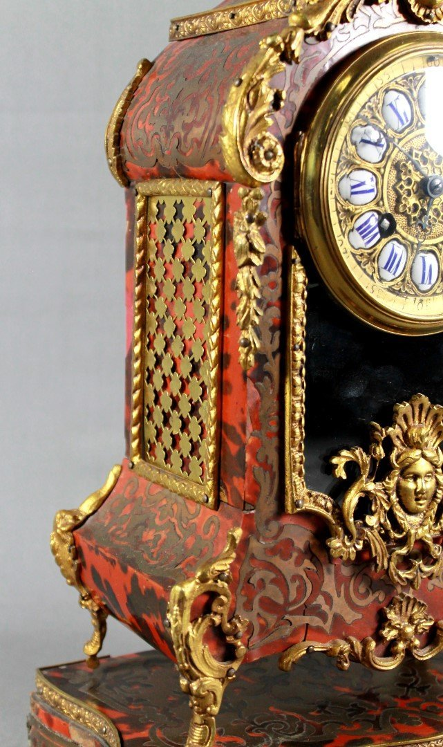 19TH C. LOUIS XV STYLE BOULLE MARQUETRY CLOCK GARNITURE - 3