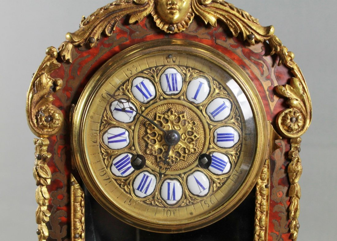 19TH C. LOUIS XV STYLE BOULLE MARQUETRY CLOCK GARNITURE - 4