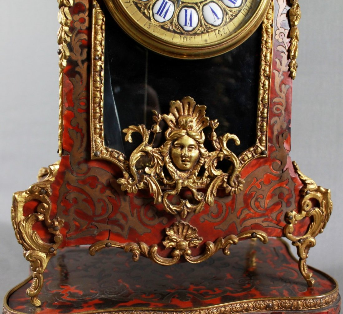 19TH C. LOUIS XV STYLE BOULLE MARQUETRY CLOCK GARNITURE - 5