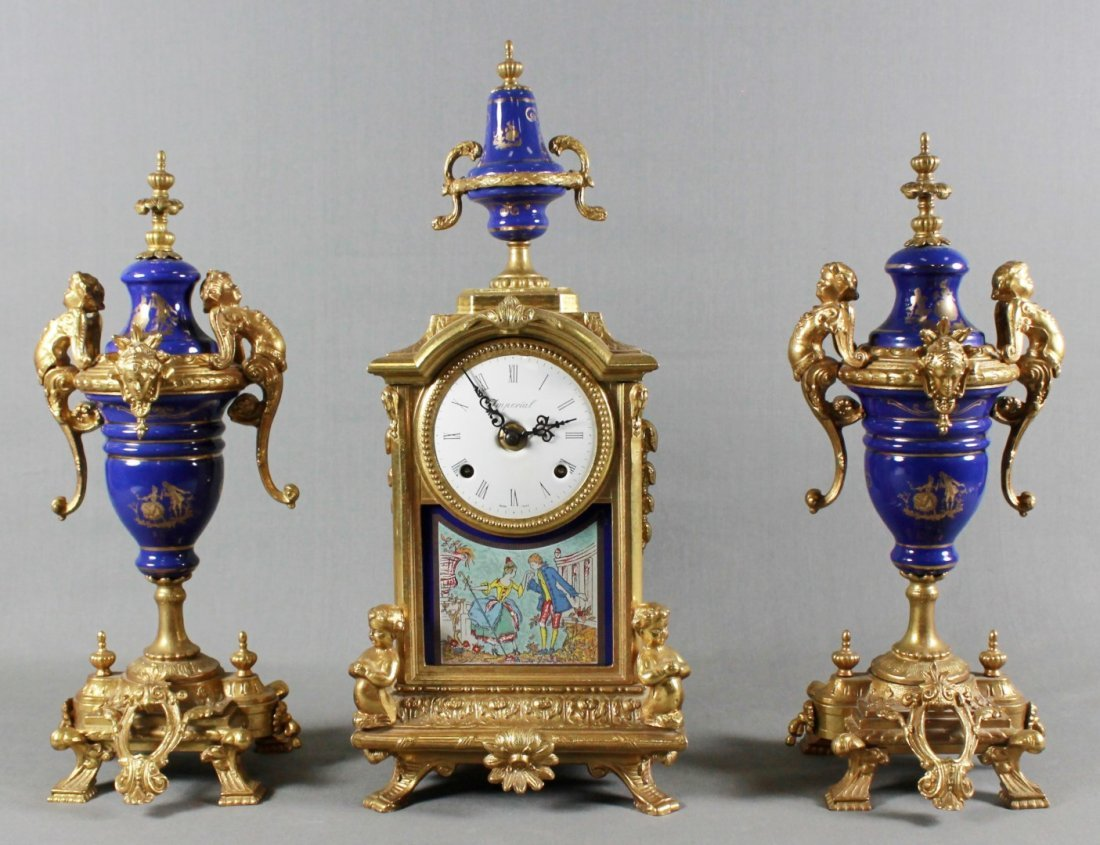 A LATE 19TH C. 3 PC. FRENCH CLOCK GARNITURE