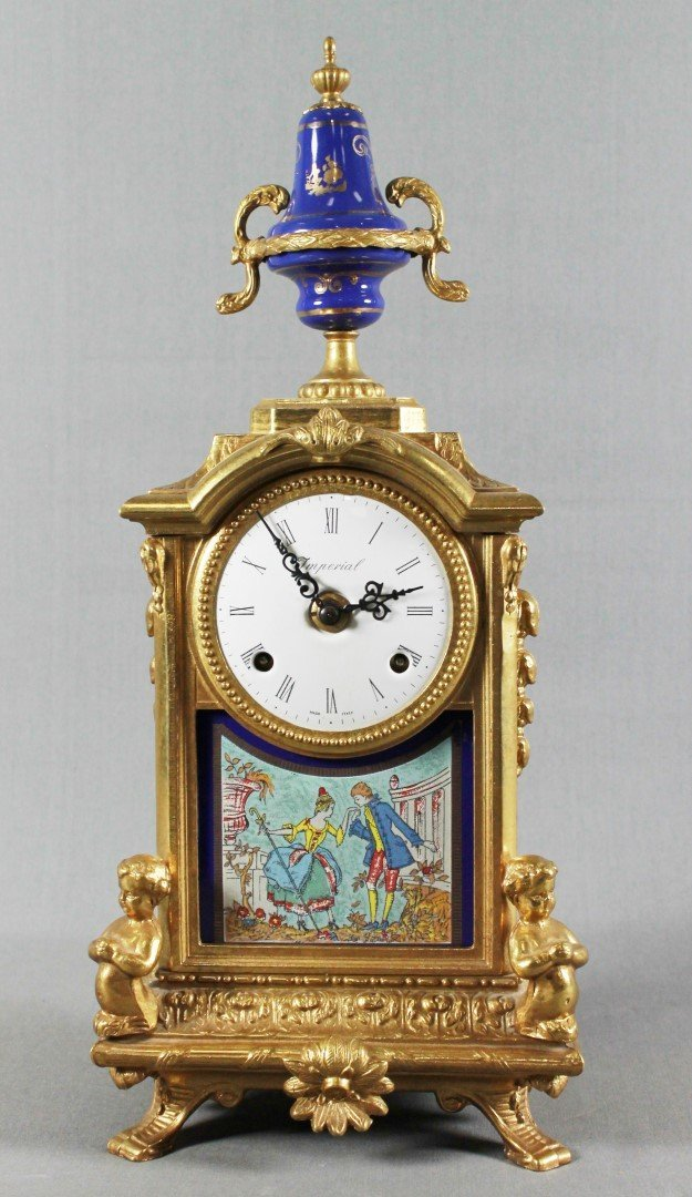 A LATE 19TH C. 3 PC. FRENCH CLOCK GARNITURE - 2