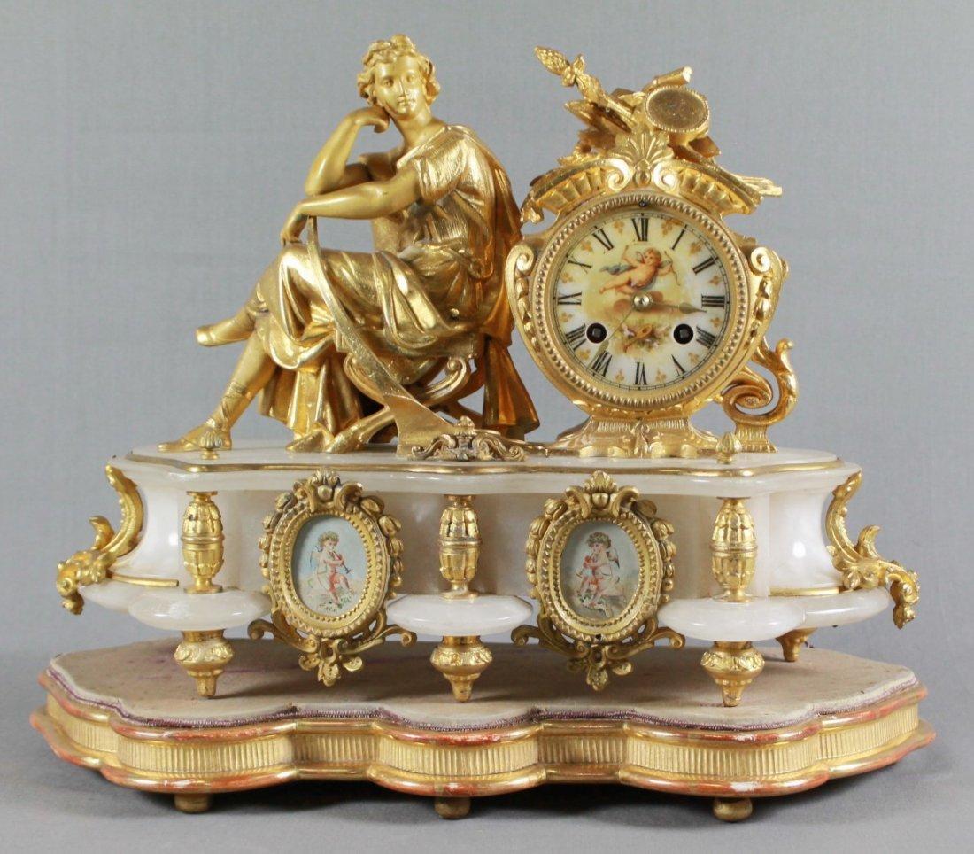 ANTIQUE 19TH C. FRENCH S. MARTI FIGURAL GILT & WHITE