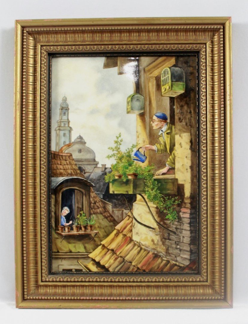 "ANTIQUE KPM PORCELAIN PLAQUE ""CONTINENTAL VILLAGE"