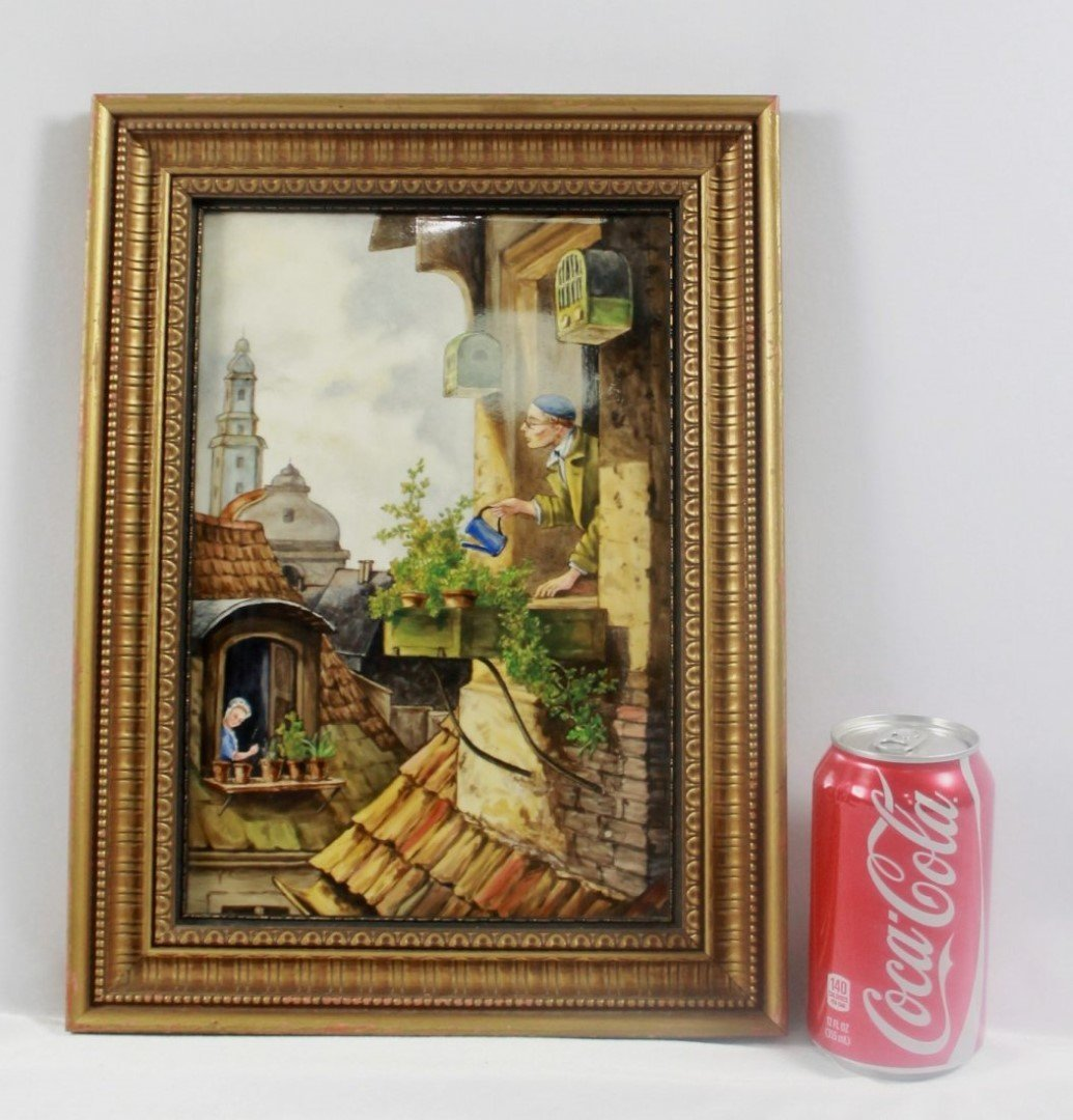 "ANTIQUE KPM PORCELAIN PLAQUE ""CONTINENTAL VILLAGE - 2"