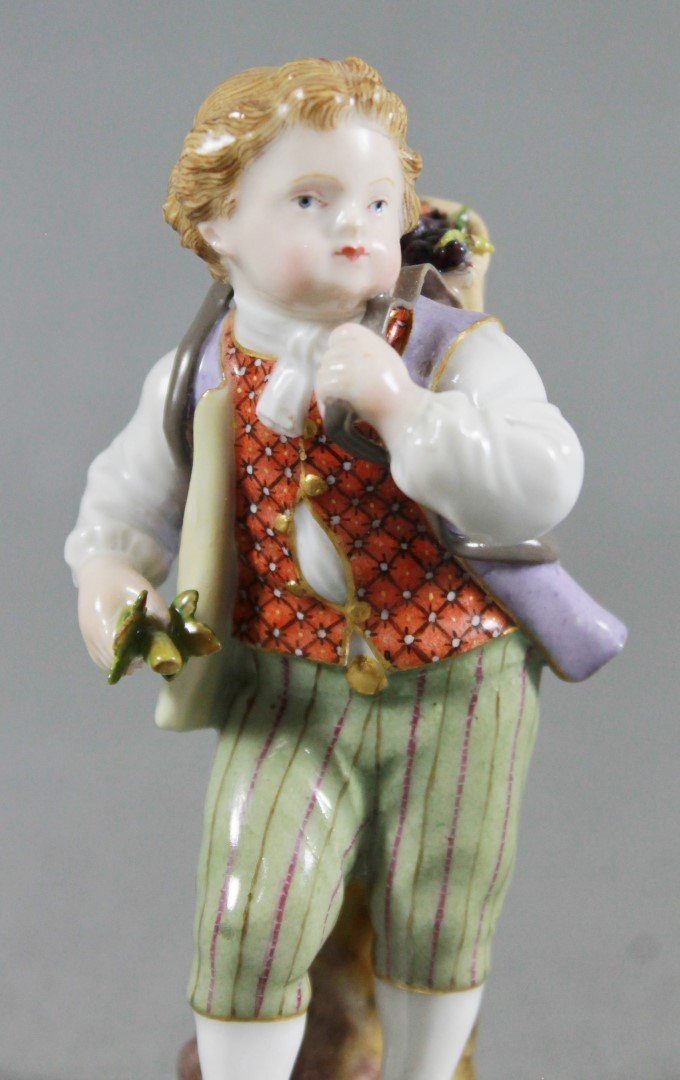 ANTIQUE MEISSEN FIGURE OF A BOY CARRYING BASKET OF - 2