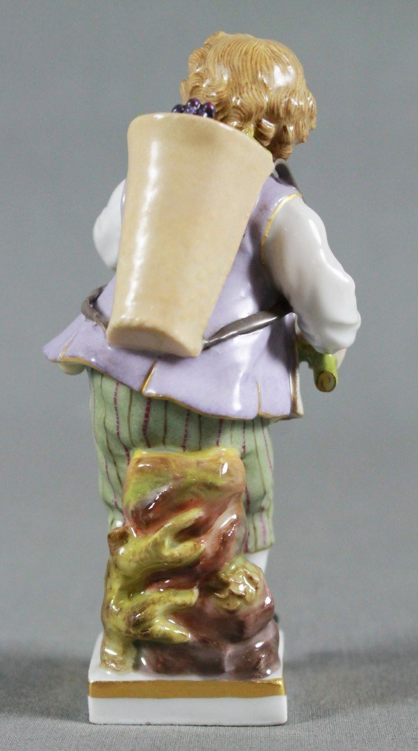 ANTIQUE MEISSEN FIGURE OF A BOY CARRYING BASKET OF - 3
