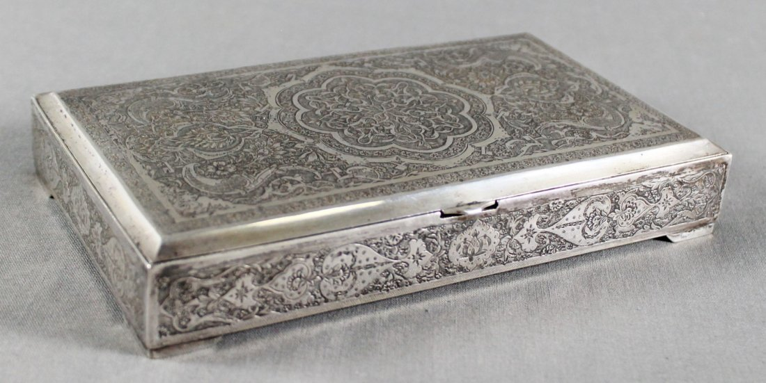 PERSIAN INLAID SILVER BOX