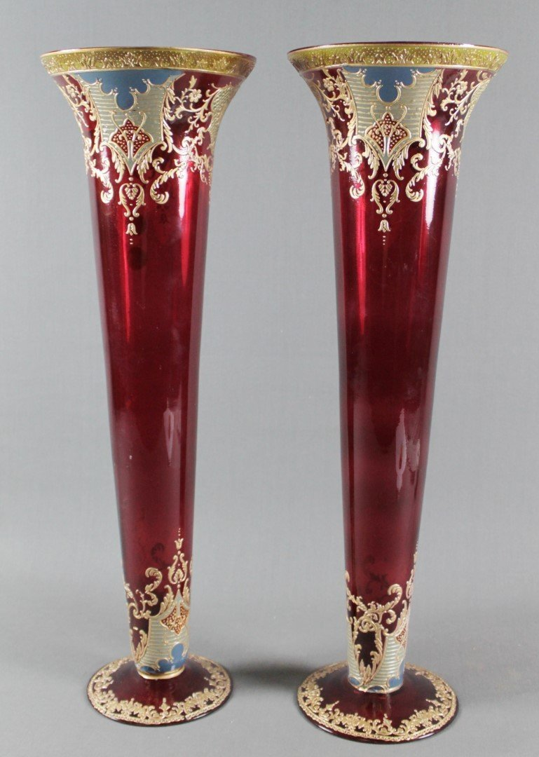 PAIR OF MOSER CRANBERRY GLASS VASES WITH ENAMEL