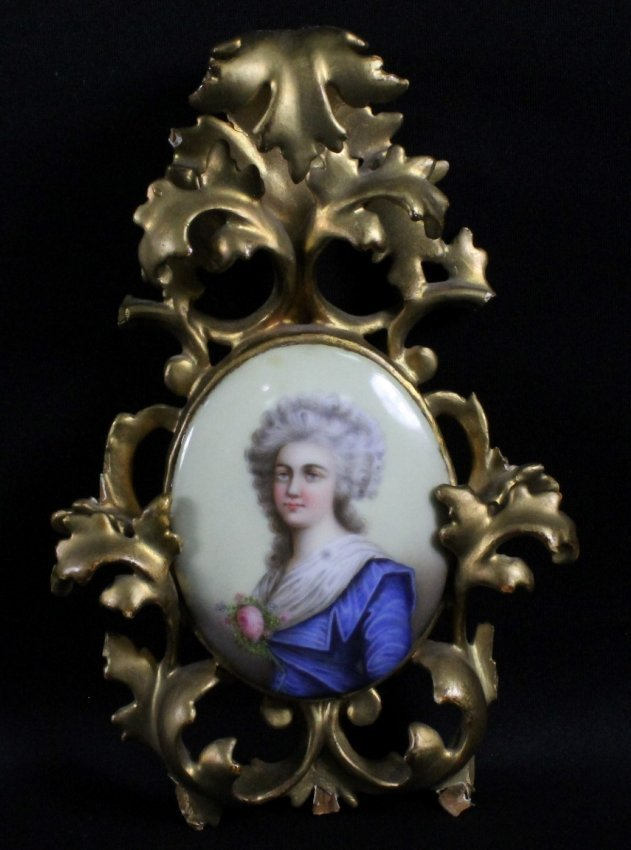 FRENCH PORCELAIN PLAQUE IN WOODEN FRAME