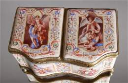 FRENCH SILVER  ENAMELED DOUBLE SNUFF BOX