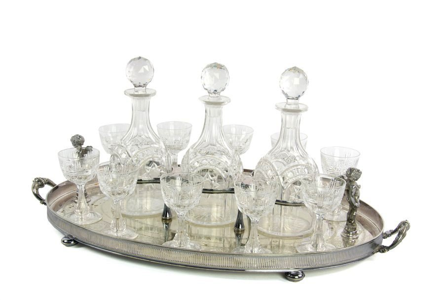 A LATE 19TH C. SILVER-PLATE AND CUT GLASS BAR SET