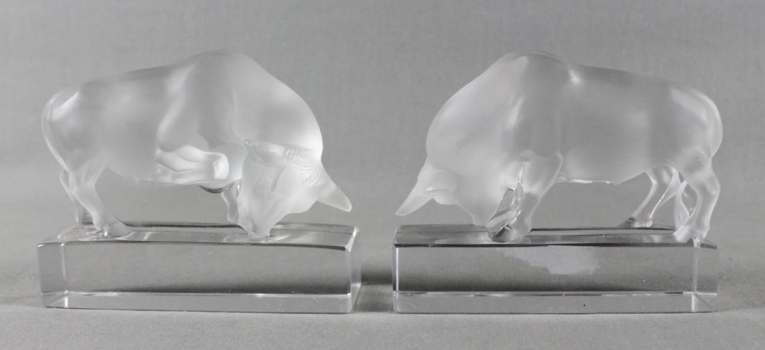 PAIR OF LALIQUE FROSTED FIGURES OF BULLS