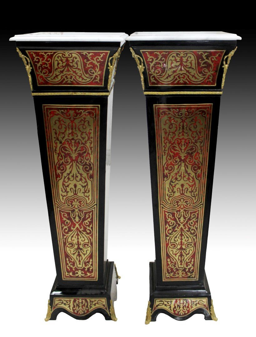 PAIR OF BOULLE INLAID PEDESTALS WITH MARBLE TOPS