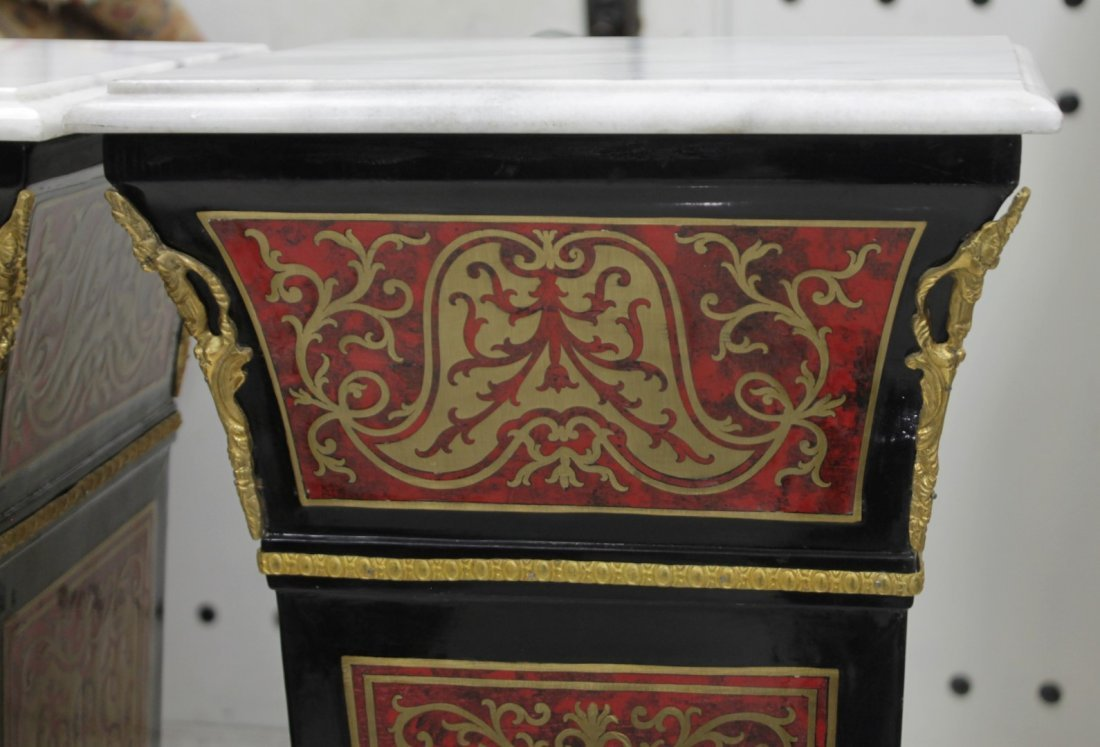 PAIR OF BOULLE INLAID PEDESTALS WITH MARBLE TOPS - 2