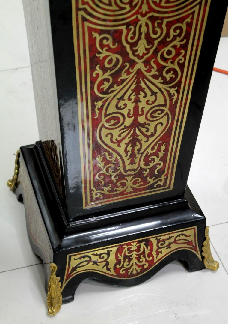 PAIR OF BOULLE INLAID PEDESTALS WITH MARBLE TOPS - 3