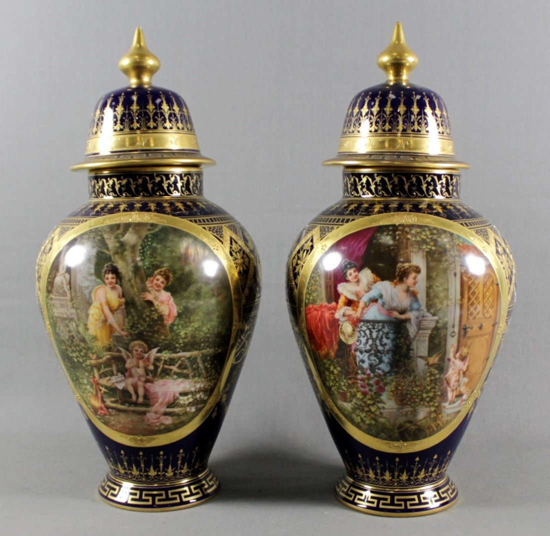 PAIR OF ROYAL VIENNA COVERED URNS