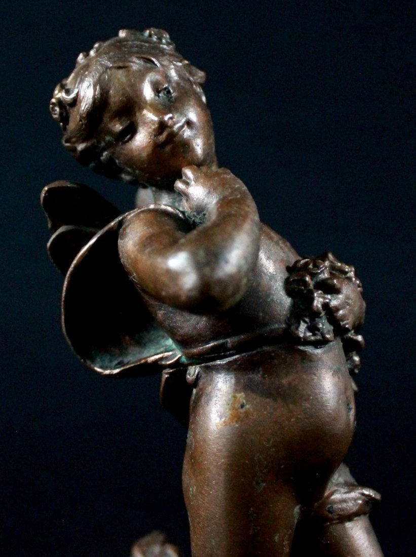 BRONZE FIGURE OF A WOMAN ON MARBLE BASE, SIGNED J MOR. - 5