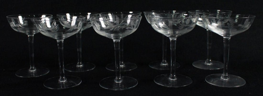 ETCHED CHAMPAGNE GLASSES, 9 PCS