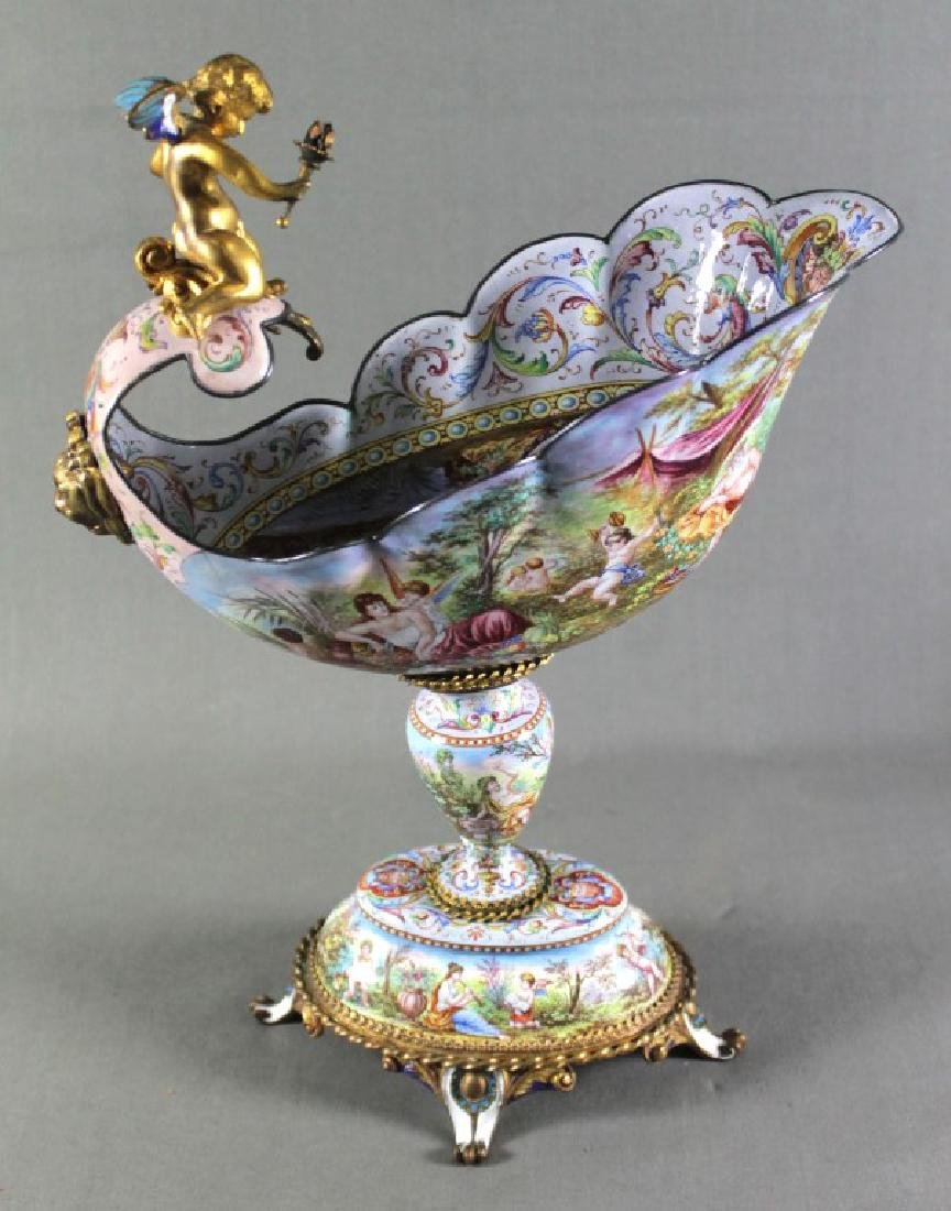 Magnificent 19th C. Viennese Enamel Bronze Mounted
