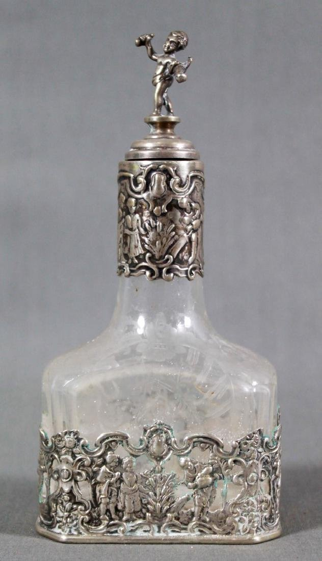 GERMAN STERLING SILVER AND ETCHED GLASS DECANTER