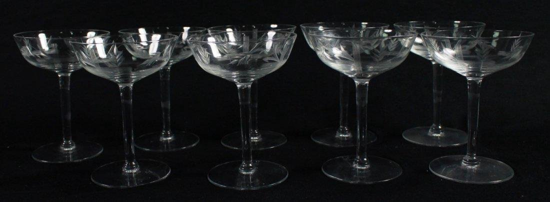 ETCHED CHAMPAGNE GLASSES, 9 PCS