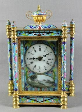 Brass and Champleve Enamel Clock
