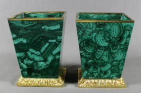 PAIR OF MALACHITE PLANTERS WITH DORE BRONZE MOUNTS