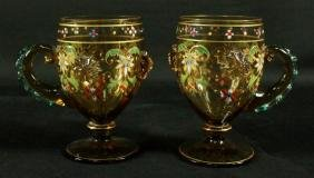 PAIR OF MOSER DECORATED CUPS WITH HANDLES