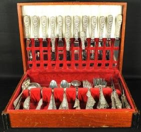 71 PC. STERLING SILVER AND STAINLESS FORK AND KNIFE SET