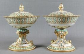 2 PCS. 19TH C COVERED PORCELAIN COMPOTE