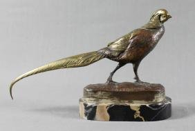 BRONZE FIGURE OF PHEASANT ON MARBLE BASE