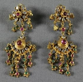 PAIR OF INDIAN GOLD AND MULTI COLORED STONE EARRINGS