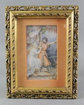 FRAMED PAINTING ON IVORY OF KNIGHT AND MAIDEN