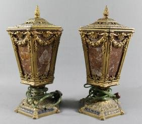 PAIR OF BRONZE AND GLASS LAMPS
