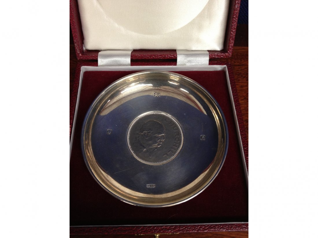 6: A silver dish set with a Churchill crown, in present