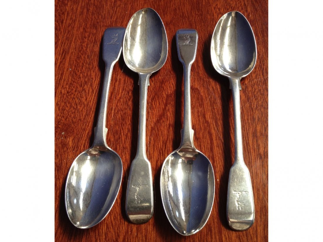 19: A set of four William IV silver fiddle pattern teas